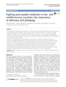 Combattre des médicaments de mauvaise qualité dans les pays à revenu faible et intermédiaire: l'importance du plaidoyer et de la pédagogie 2016