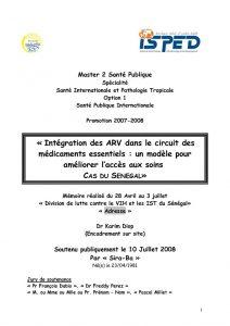 L'intégration des ARV dans le circuit des médicaments essentiels : un modèle pour l'amélioration de l'accès aux soins. Cas du Sénégal.