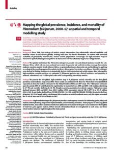 Mapping the global prevalence, incidence, and mortality of Plasmodium falciparum 2000 - 2017 : a spatial and temporal modelling study
