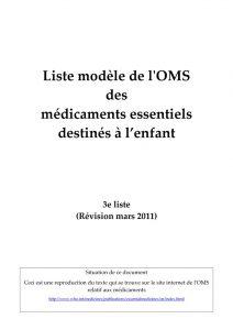 essentiel-generique-modele-liste-med-essentiels-2011-enfant-oms