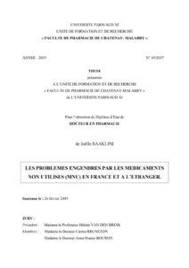 Les problèmes engendrés par les médicaments non utilisés (MNU) en France et à l'étranger