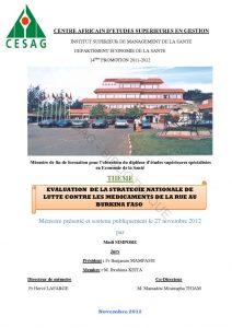 évaluation de la stratégie nationale de lutte contre les médicaments de la rue. Burkina Faso. 2012