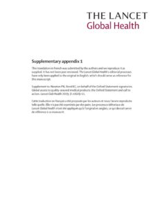 Déclaration d'Oxford et son appel à l'action pour un accès mondial à des produits médicaux de qualité garantie (version française)
