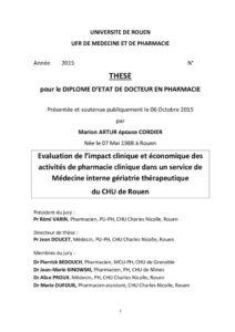 Evaluation de l'impact clinique et économique des activités de pharmacie clinique dans un service de Médecine interne gériatrie thérapeutique du CHU de Rouen
